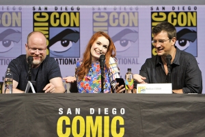 Joss-Whedon-Felicia-Day-Nathan-Fillion-SDCC-2018-photo-by-Kendall-Whitehouse-750x500