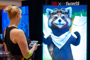A person chats with FaceRig's real-time interactive red panda